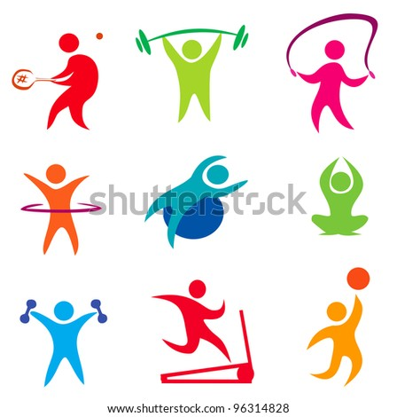 fitness, indoor sport icons of active people - stock vector