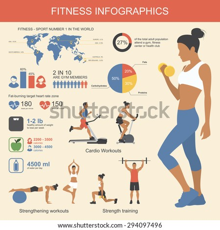 Fitness infographics elements. Vector illustration of healthy lifestyle in flat style. - stock vector