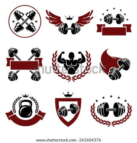 Fitness labels and icons set. Vector - stock vector