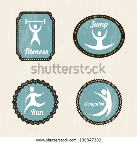 fitness labels over beige background. vector illustration - stock vector