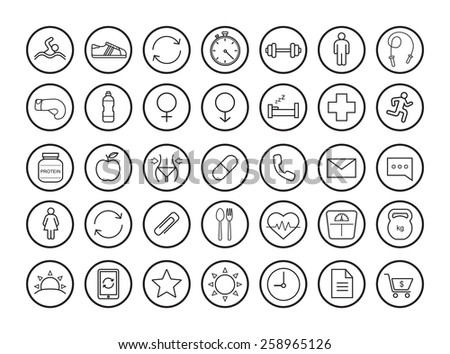 Fitness linear icons set. Vector clip art illustrations isolated on white  - stock vector