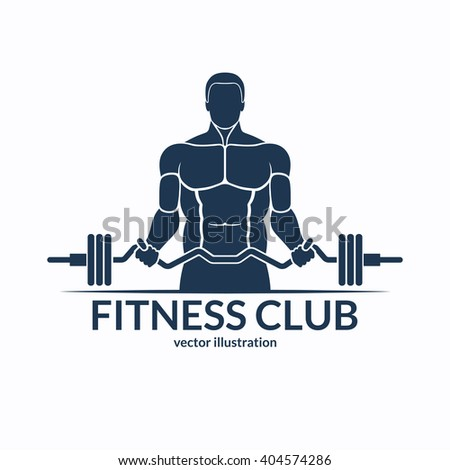 Fitness logo. An athlete with a barbell. Gym, bodybuilding, weightlifting, sports, training monochrome emblem, label, badge, sign, symbol. Vector illustration - stock vector