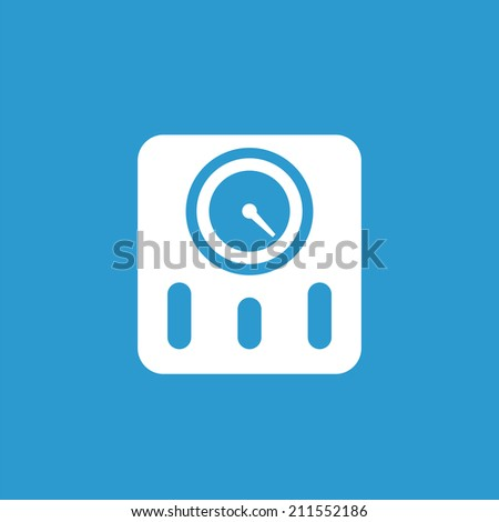 fitness scales icon, isolated, white on the blue background. Exclusive Symbols  - stock vector