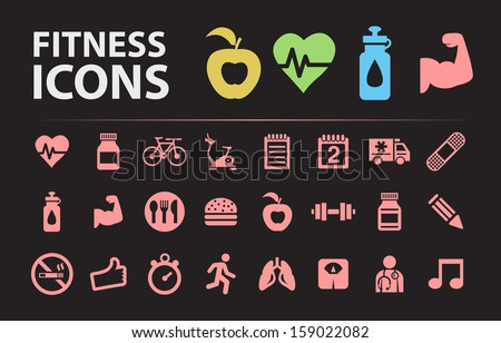 Fitness Silhouette Icons. - stock vector