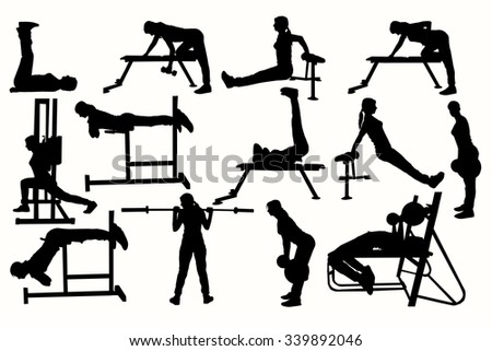 Fitness silhouette women in exercise gym work.  - stock vector