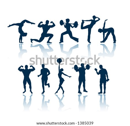 "Fitness silhouettes. To see all my silhouettes, search by keywords: ""agb-svect"" or ""agb-srastr"" - stock vector"