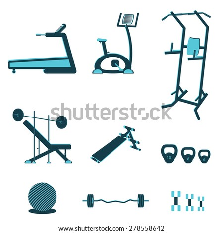 Fitness sport gym exercise equipment workout flat set concept. Vector illustration - stock vector