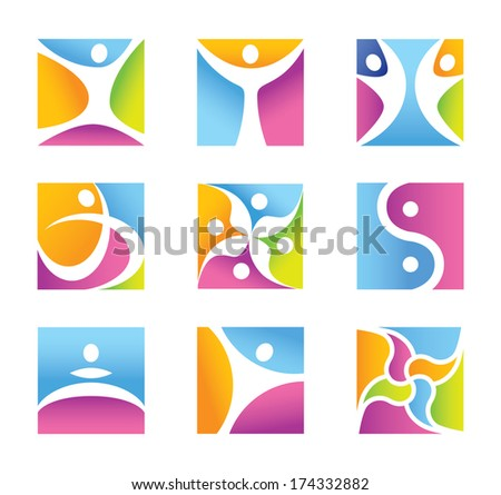 Fitness symbols and icons - universal character - Flat design - vector graphics - diverse color style - stock vector