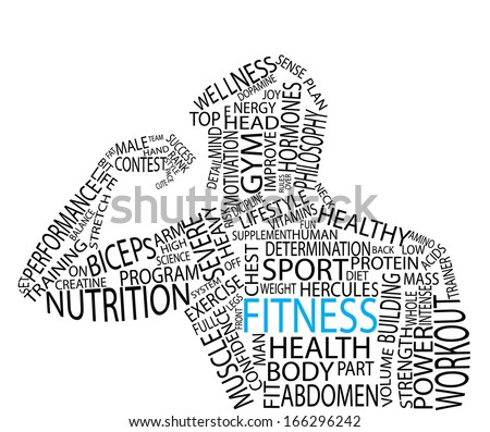 Fitness tag cloud vector artwork