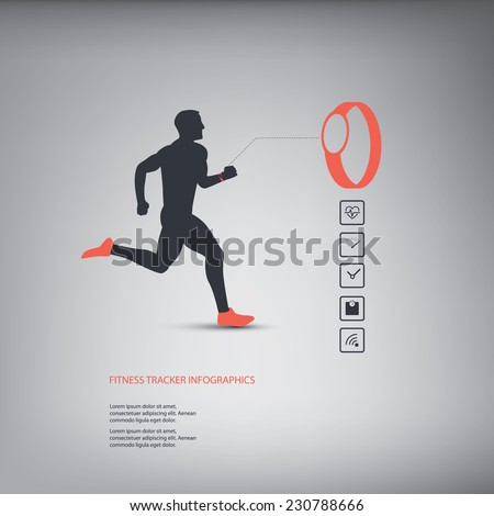 Fitness tracker or smart watch wearable technology infographics with set of icons for fitness trackers. Eps10 vector illustration - stock vector