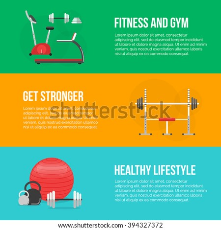 Fitness training and gym club concept set. fitness center banners. Fitness equipment. Gym concept. Fitness concept. Vector Sport background. Fitness and a healthy lifestyle concept. Sport inventory. - stock vector