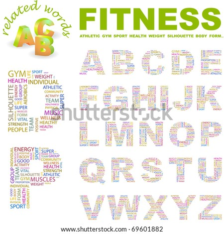 FITNESS. Vector letter collection. Illustration with different association terms. - stock vector