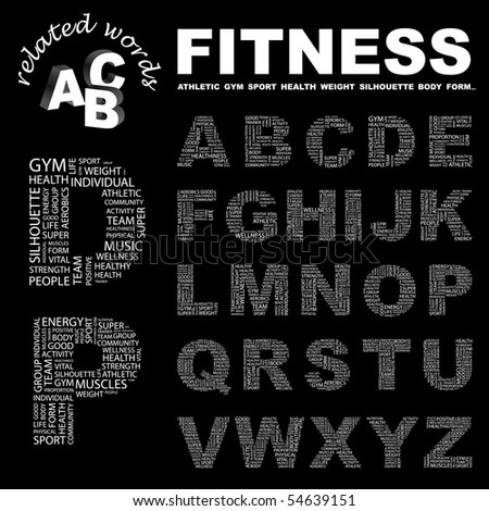 FITNESS. Vector letter collection. Wordcloud illustration.