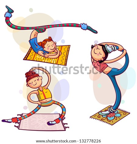 Fitness woman club. Nice girls doing sport exercises - stock vector