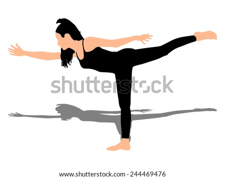 Fitness woman doing exercise, vector  - stock vector