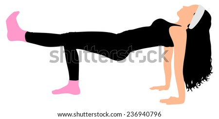 Fitness woman doing exercise wearing pink socks, vector