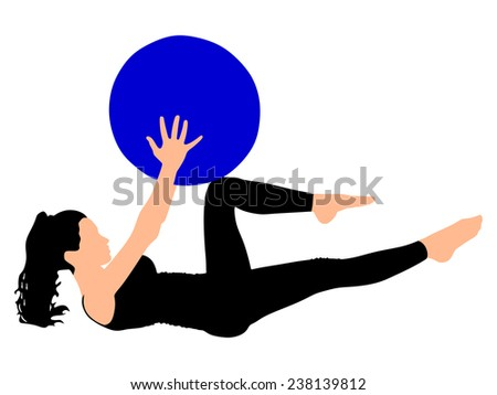 Fitness woman doing exercise with pilates ball - stock vector