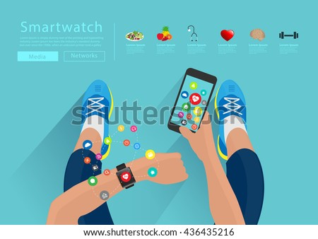 Fitness woman hand with wearing watchband touchscreen smartwatch, holding mobile phone with applications icons flat design ideas concepts living healthy life, Vector illustration layout template - stock vector