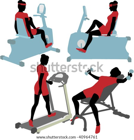 Fitness women in exercise gym work out on treadmill, bike, and barbells. - stock vector