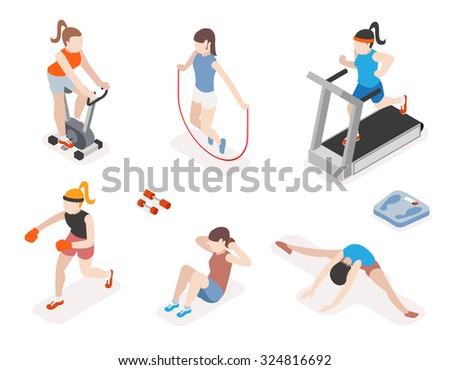 Fitness women in gym, gymnastics workout and yoga exercises. 3d isometric icons. Sport people, health and jumping rope, vector illustration - stock vector