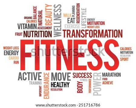 FITNESS word cloud, sport, health concept - stock vector