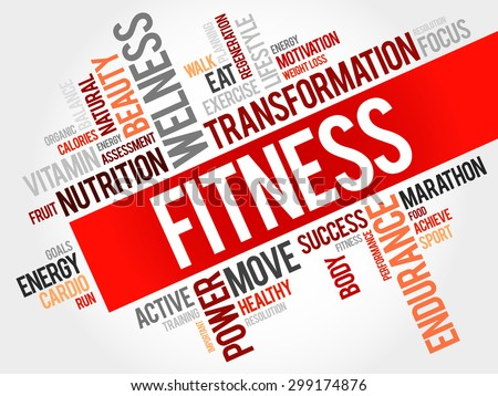 FITNESS word cloud, sport, health concept - stock vector