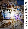 FITNESS. Word Grunge collage on background. - stock vector