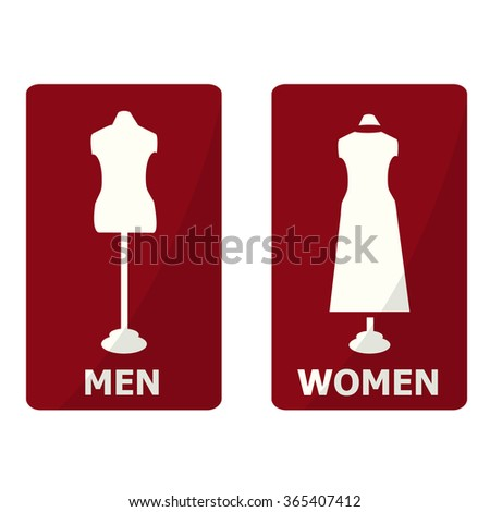 Fitting room sign, Toilet sign flat icon - stock vector