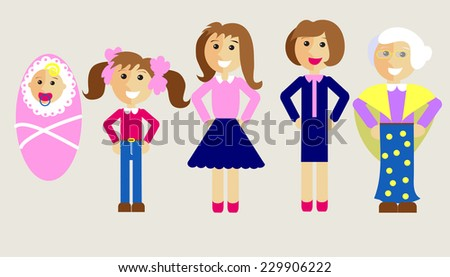 Five ages of woman - stock vector