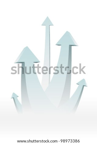 Five arrows going up - success concept illustration. Graphic Design Editable For Your Design.  - stock vector