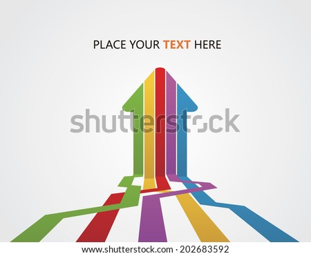 Five arrows teamwork - stock vector