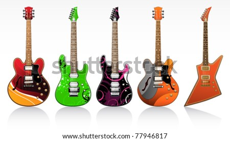 five beautiful electric guitars on a white background - stock vector