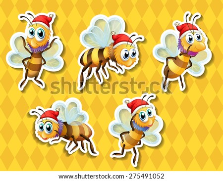 Five bees flying with yellow background - stock vector
