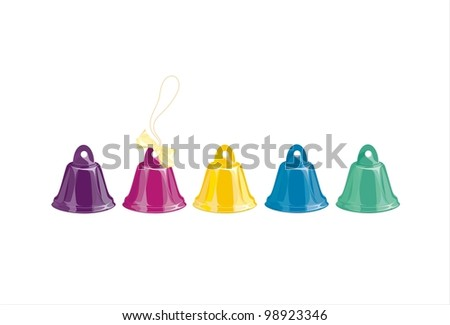 five bells of different colors on a white background - stock vector