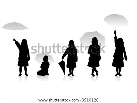 Five black children's silhouettes and an umbrella on a white background.