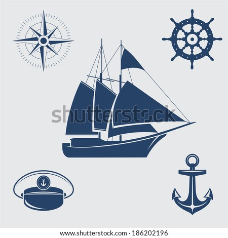 Five blue nautical symbols: sailing yacht, compass, steering wheel, captain's cap and anchor - stock vector