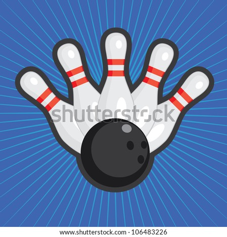 Five bowling skittles and ball on the colored abstract background. - stock vector