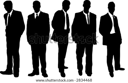 five business men in causal dress style in silhouette