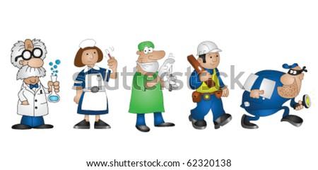 Five cartoon professionals scientist doctor nurse builder burglar - stock vector