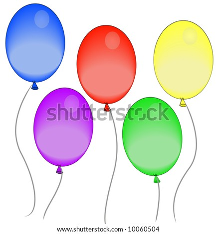 five colorful balloons floating in the air - vector - stock vector