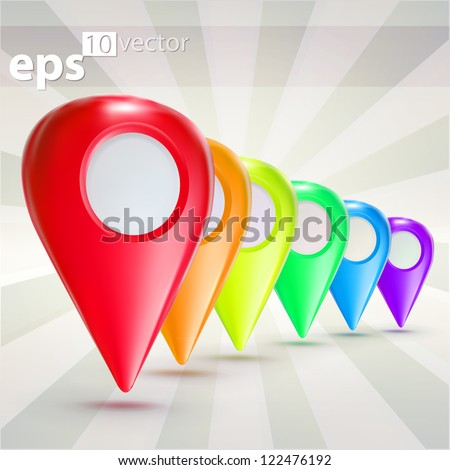 Five colors geo tag travel glossy icon emblems, eps10 vector composition - stock vector