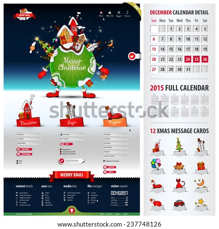 five components website template for christmas containing: 1. xmas illustration with three tabs 2. three web forms 3. footer with icons & visitor counter 4. xmas message cards 5. 2015 calendar, eps10 - stock vector