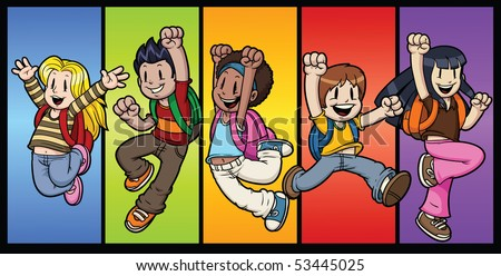 Five cool cartoon kids jumping. All characters and background in separate layers for easy editing. - stock vector