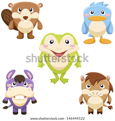 five cute animals set. vector with white background - stock vector