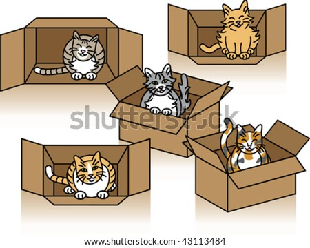 Five cute cats playing in cardboard boxes. - stock vector