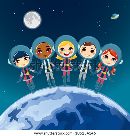 Five cute children astronaut holding hands dream exploring space together - stock vector