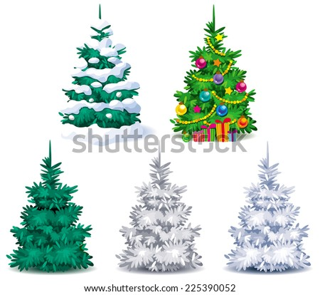 Five different Christmas trees with snow and Christmas decorations - stock vector