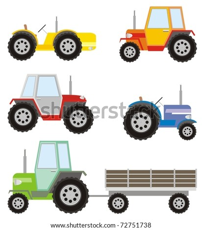 Five different colored agricultural tractors plus one trailer - color vector cartoon illustration set - stock vector