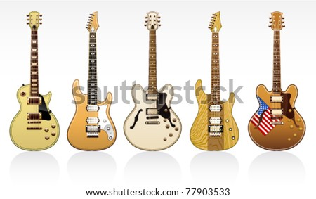 five electric guitars on a white background