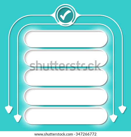 Five frames for your text and circular arrows and check box - stock vector